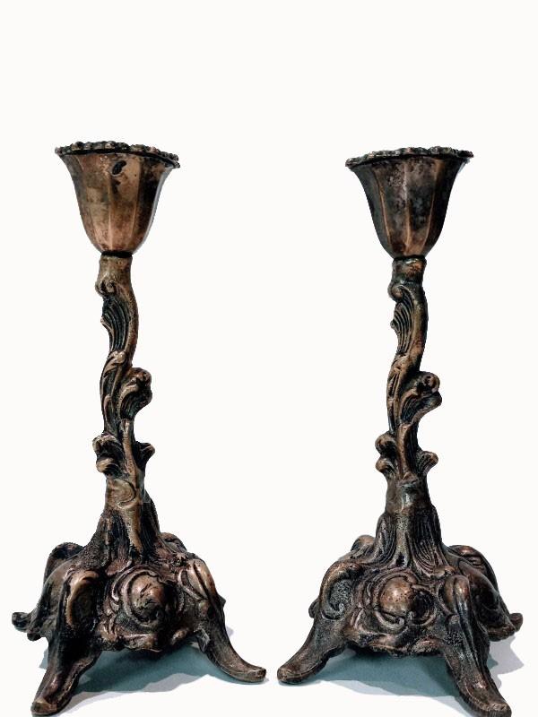 Koppel bronzen kandelaars, 19de eeuws