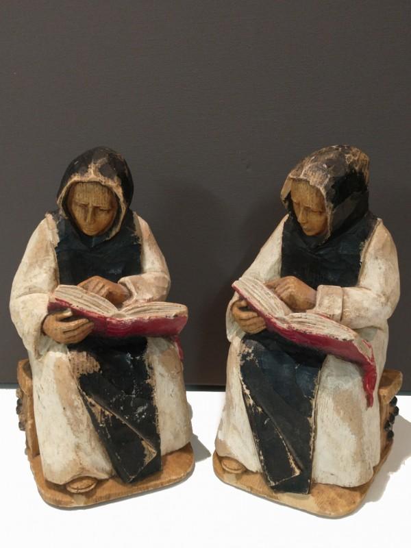 2 boekensteunen, gesigneerd: Arboranda