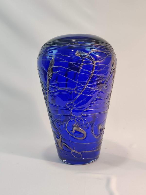 Blauwe kristallen vaas