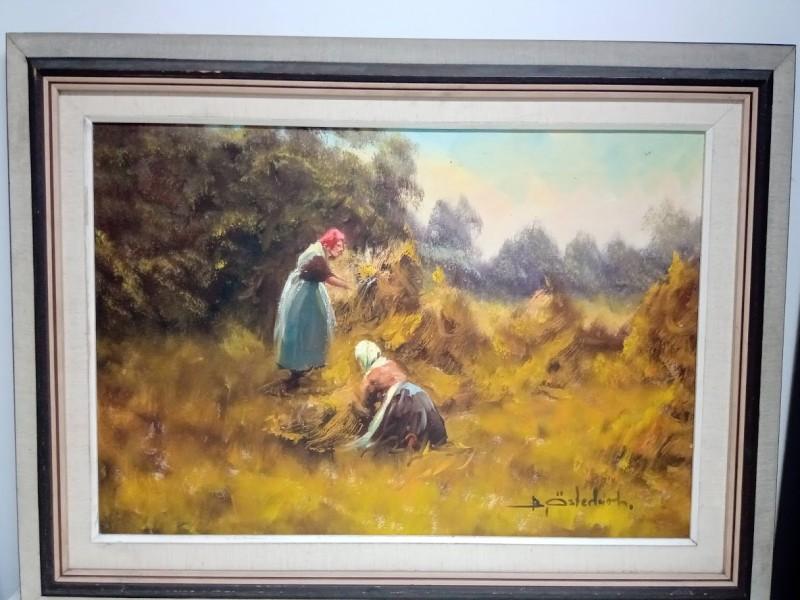 schilderij: 2 vrouwen aan het oogsten