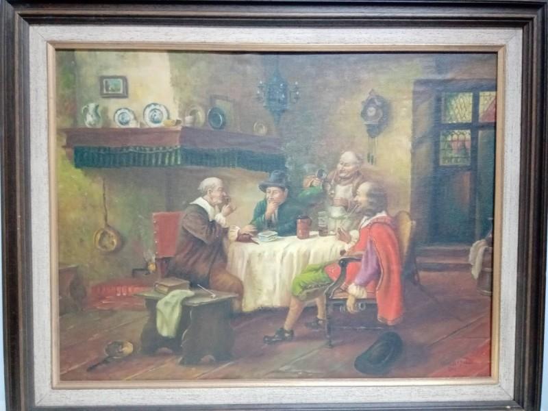 schilderij: 4 mannen roken en drinken aan de haard