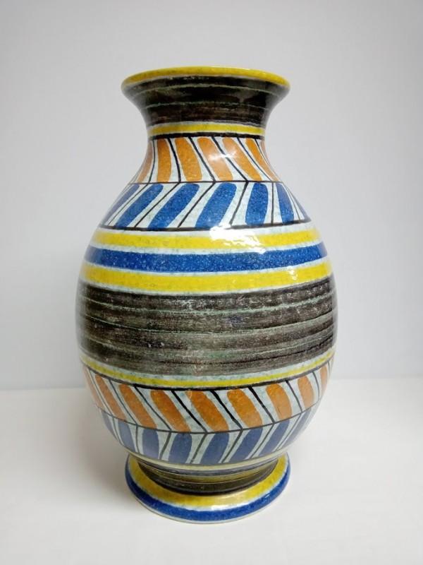 vintage grote bolvormige vaas (horizontale strepen)