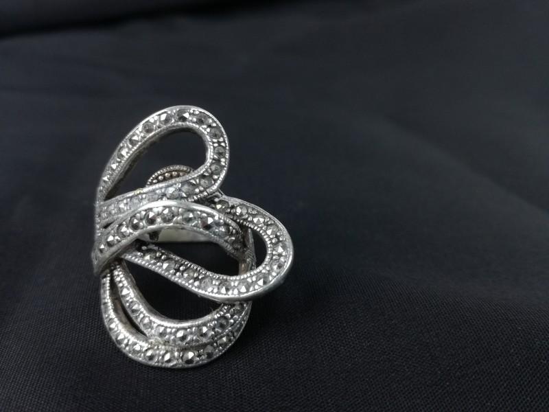 925 zilveren ring Markasiet maat 16,5