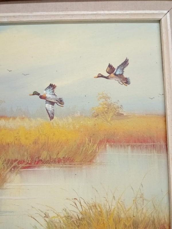 schilderij : 2 eenden aan meer