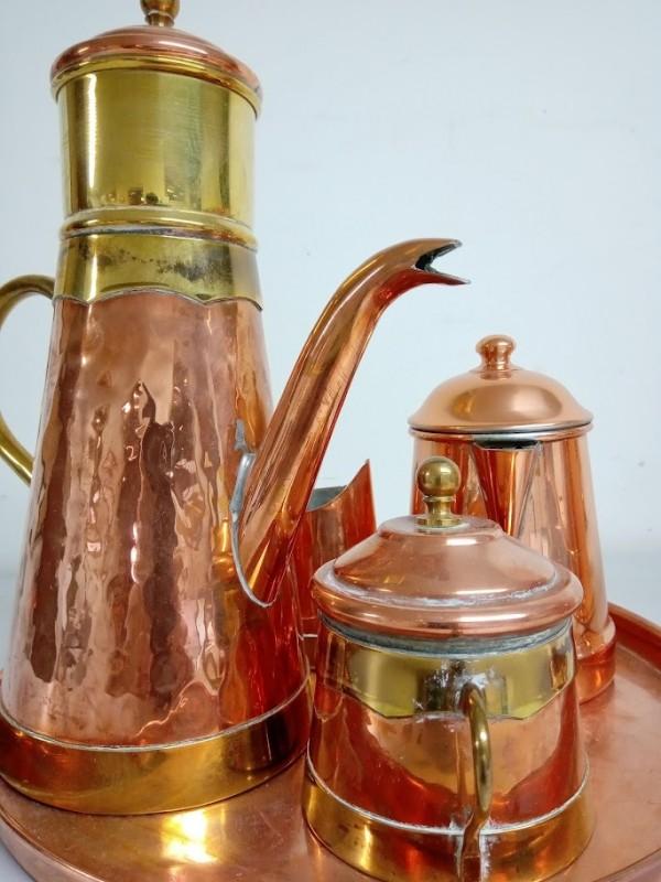 koperen koffieset 6-delig