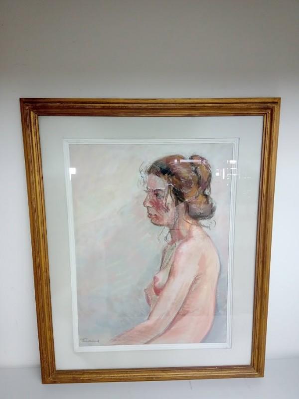 schilderij: naakte buste van vrouw met dot