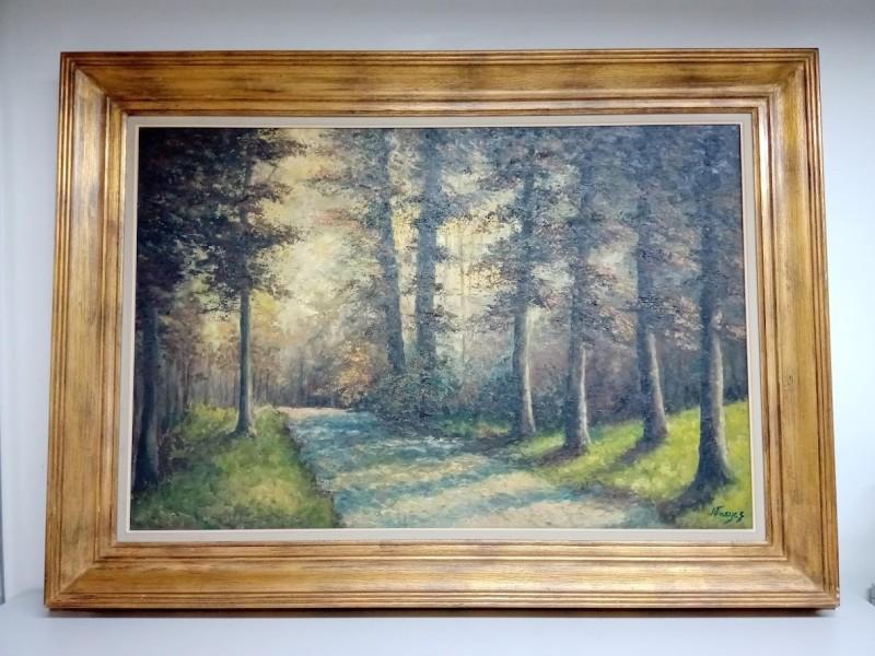 groot schilderij: dreef in bos, Nacijez