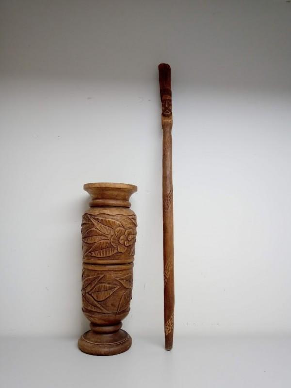 houten vijzel met stamper