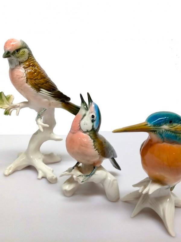 3 Karl Ens porceleinen vogels