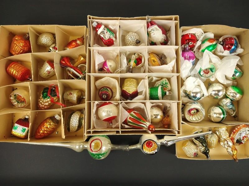Lot oude kerstballen diverse vormen (3)