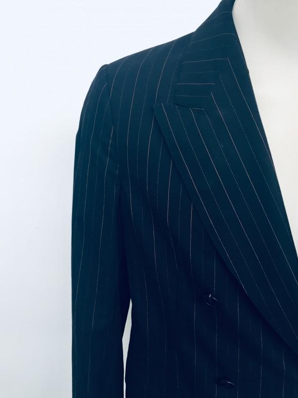 Dries Van Noten Navy Pinstripe Double Breasted Blazer