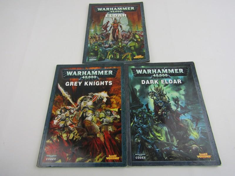 3 Warhammer 40,000 Boeken: Eldar, Dark Eldar en Grey Knights