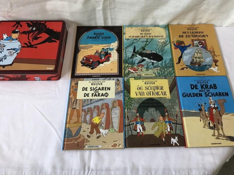 Blikken doos met 6 Kuifje verhalen