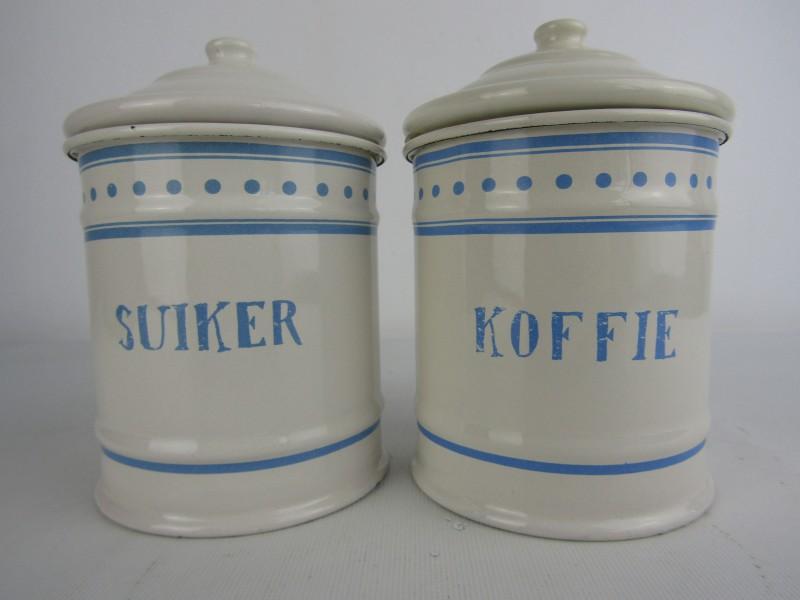 2 Voorraadpotten in Emaille, Koffie & Suiker
