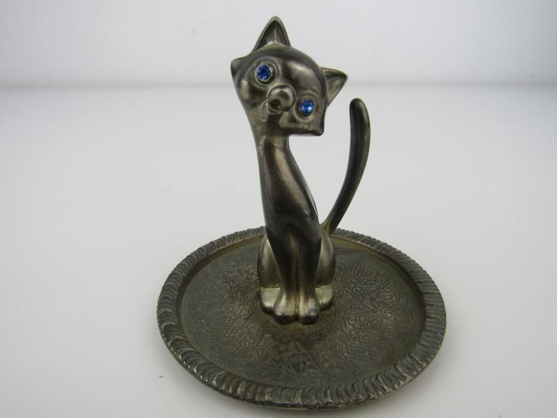 Juwelenstaander: Kat met Blauwe Steentje, Zinc Alloy Silver