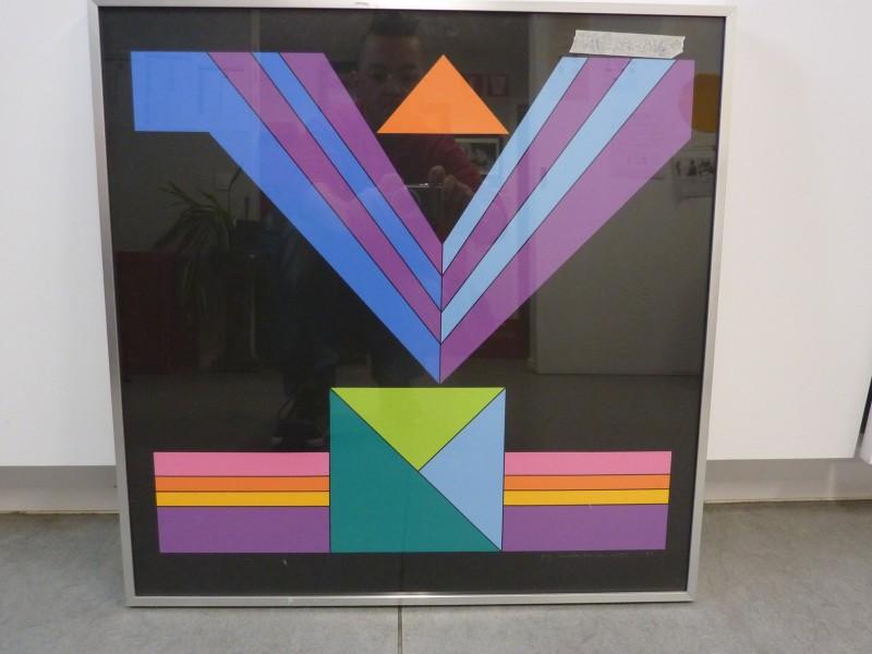 Vierkante kader met een prent van Guy Vandenbranden