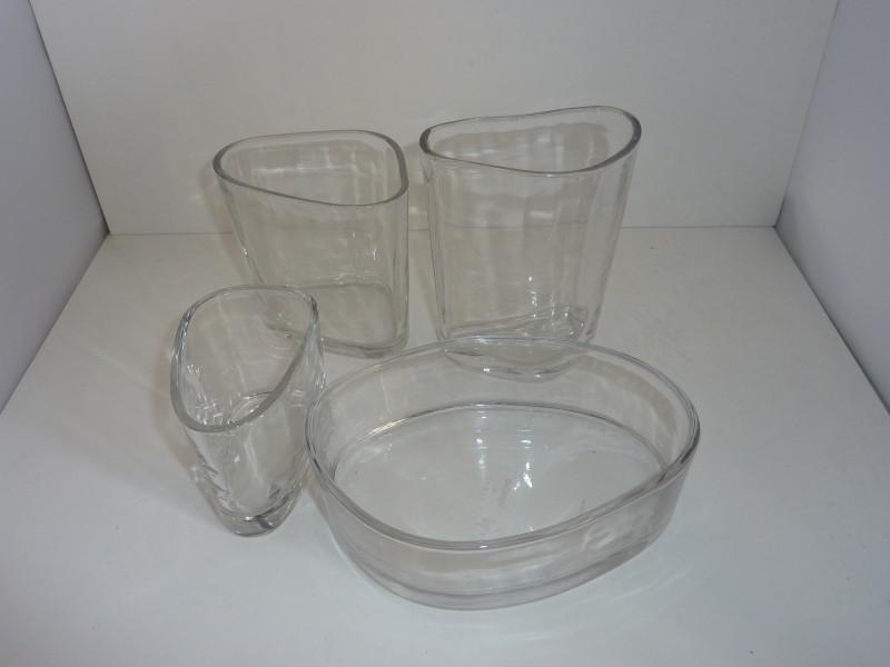 """Set van 4 glazen items ivm 50 jaar """"de Singel"""""""