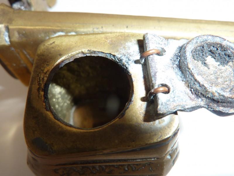 Koperen pennenhouder met vast inktpotje