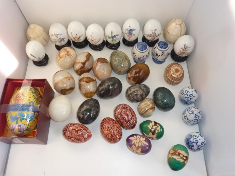 Groot lot van 37 decoratieve ei decoraties