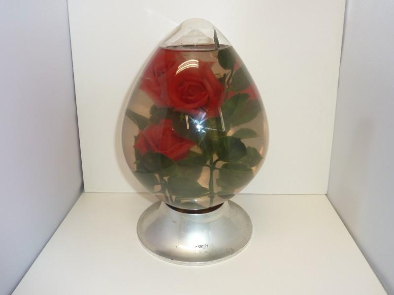 Retro decoratie: rode rozen op water
