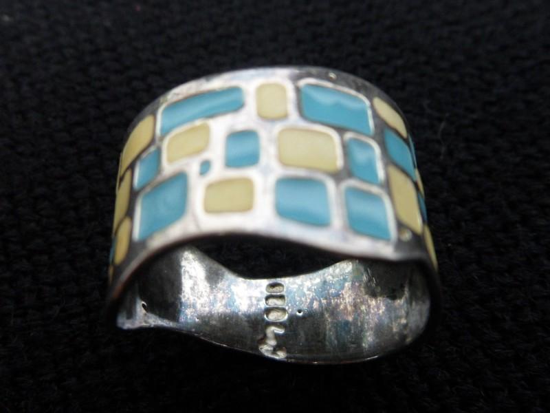 Zilveren ring (blauw/geel)
