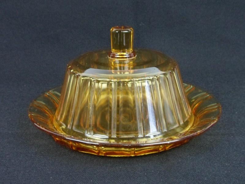 Vintage glazen schotel & stolp