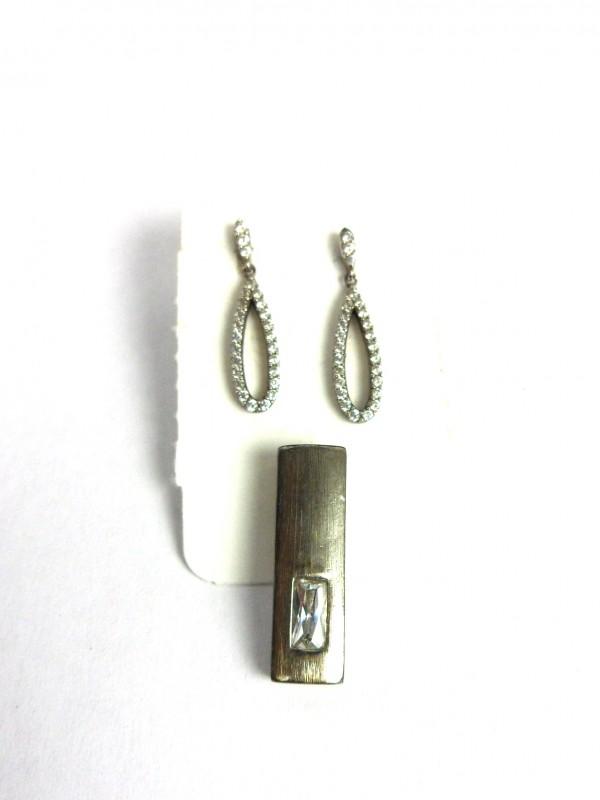 Zilveren oorbellen & hanger