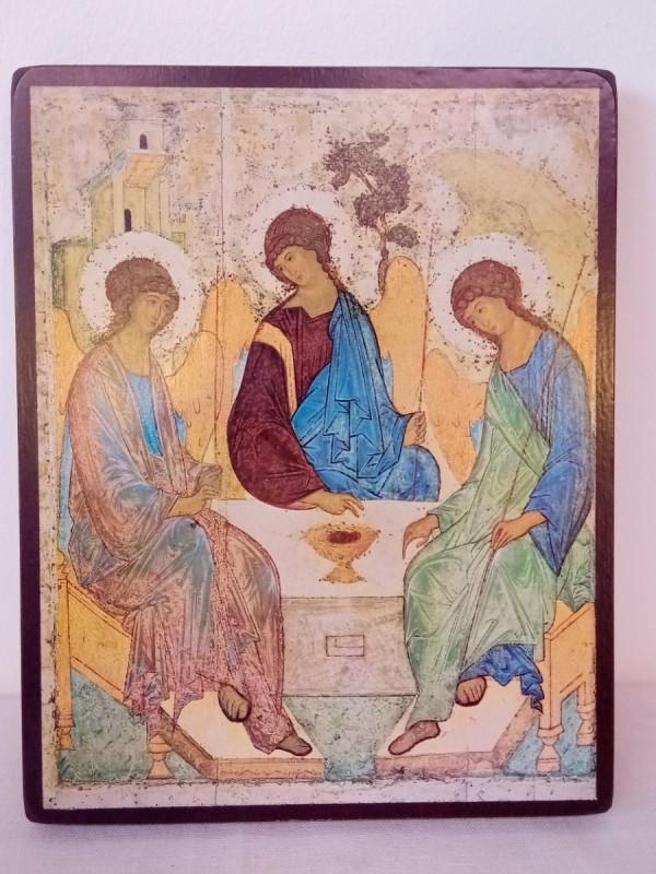 Icoon geprint op hout - Heilige Drievuldigheid