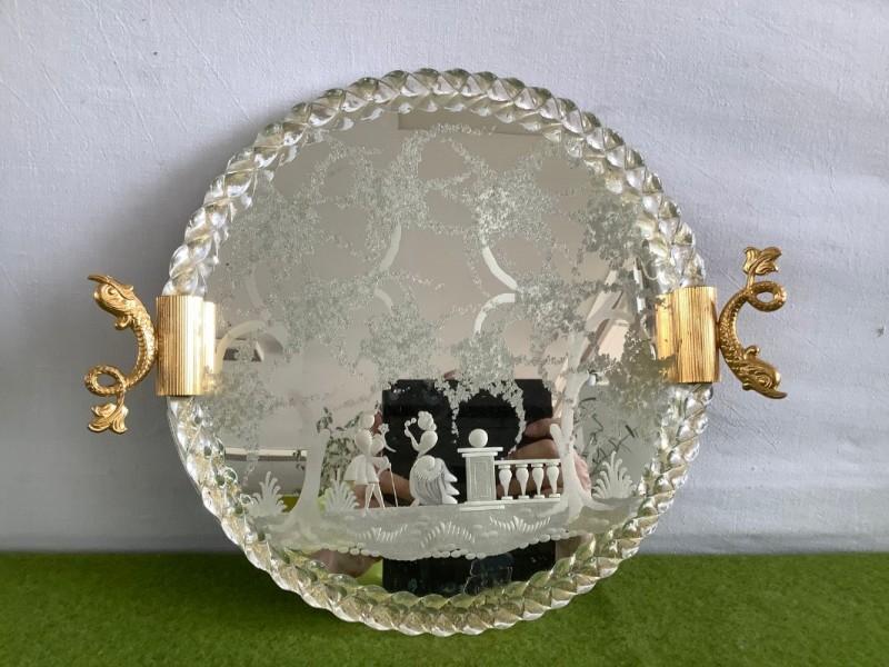 Decoratieve Boheemse dienschaal in glas