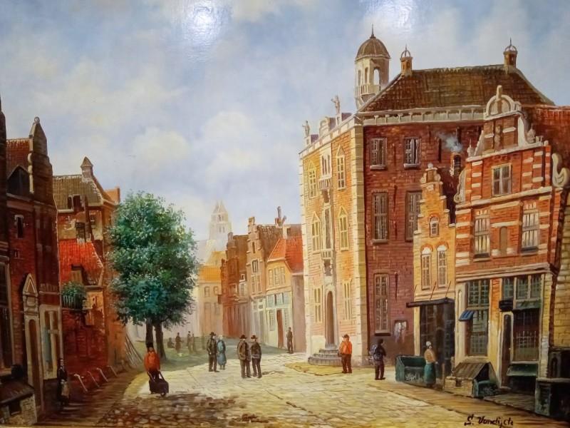 Schilderij stadszicht, gesigneerd: S. Vandijck